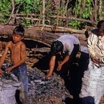 A family on the Quebrada Blanco prepares charcoal for sale.