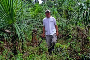 RCF President Jim Penn walks among a grove of young Aguaje planted by RCF.